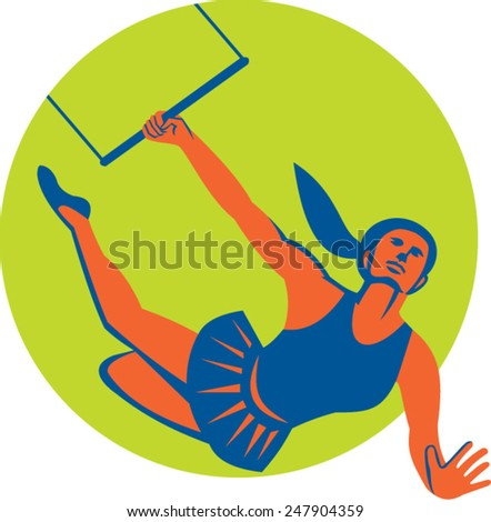 Illustration of an acrobat performing a flying trapeze act set inside circle done in retro style on isolated background.