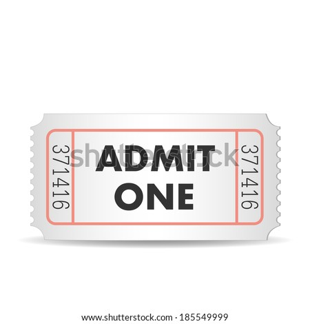 Illustration of an admit one ticket isolated on a white background. - stock vector