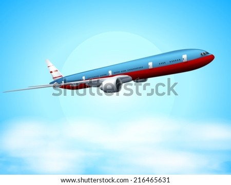 Illustration of an aeroplane in the sky - stock vector
