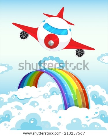 Illustration of an airplane flying over a rainbow