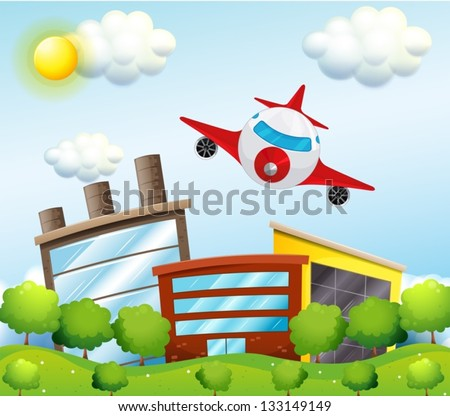 Illustration of an airplane in the city - stock vector