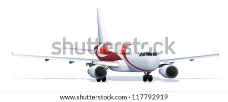 Illustration of an airplane - scientifically accurate - stock vector