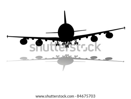 illustration of an airplane silhouette with shadow - stock vector