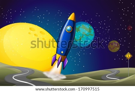 Illustration of an airship at the outerspace - stock vector