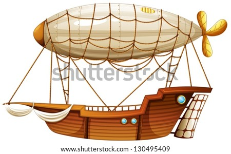 Illustration of an airship on a white background - stock vector