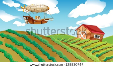 Illustration of an airship passing over a farm