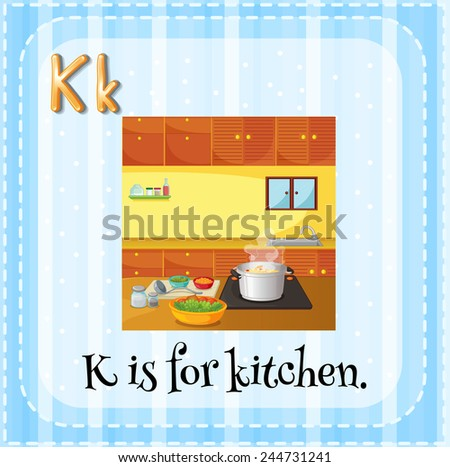 Illustration of an alphabet K is for kitchen - stock vector