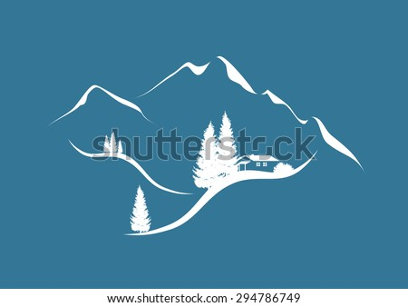 illustration of an alpine mountain landscape in winter with chalet and firs - stock vector