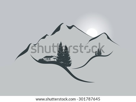 illustration of an alpine mountain landscape with chalet, firs and sun