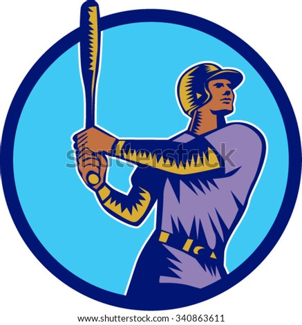 Illustration of an american baseball player batter hitter holding bat batting looking up to the side set inside circle on isolated background done in retro woodcut style.  - stock vector
