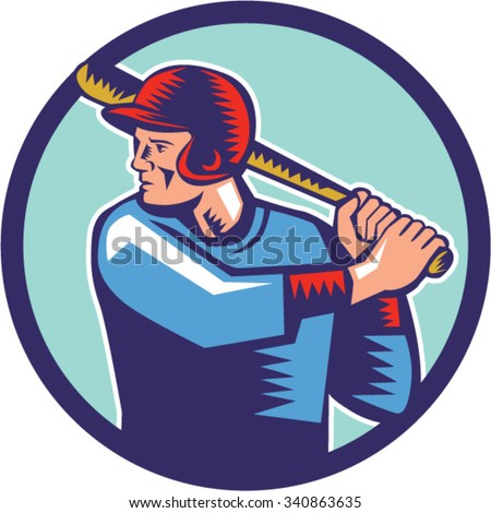 Illustration of an american baseball player batter hitter holding bat batting viewed from the side set inside circle on isolated background done in retro woodcut style.  - stock vector