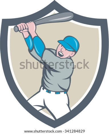 Illustration of an american baseball player holding bat batting homer home run set inside shield crest on isolated background done in cartoon style.  - stock vector