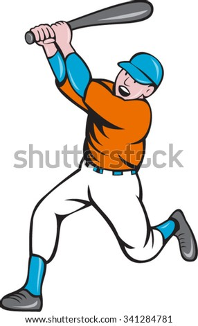 Illustration of an american baseball player holding bat batting homer home run set  on isolated white background done in cartoon style.  - stock vector