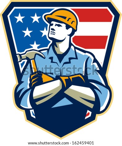 Illustration of an american carpenter builder holding hammer looking up set inside shield great with stars and stripes flag in background.