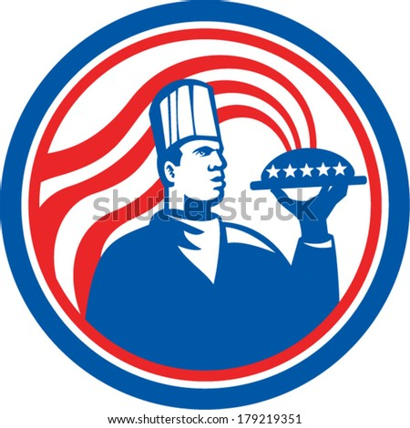 Illustration of an American chef, cook or baker holding serving plate platter of food set inside circle with stars and stripes done in retro style.