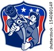 Illustration of an American fireman fire fighter emergency worker aiming fire hose set inside shield with USA stars and stripes flag done in retro style. - stock
