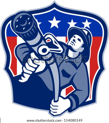 Illustration of an American fireman fire fighter emergency worker aiming fire hose set inside shield with USA stars and stripes flag done in retro style.
