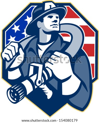Illustration of an American fireman fire fighter emergency worker slinging a fire hose on shoulder set inside shield with USA stars and stripes flag done in retro style.