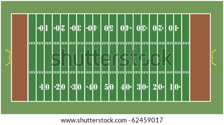 Illustration of an American football field - View from above - stock vector