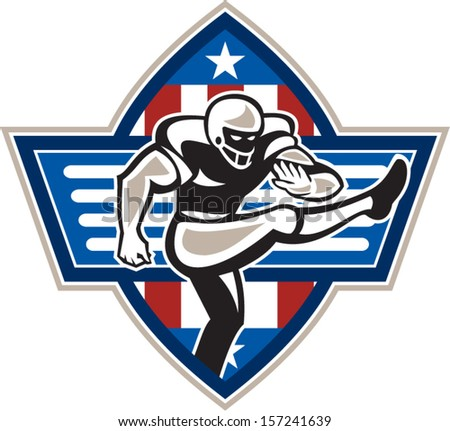 Illustration of an american football gridiron player placekicker kicking facing side done in retro style set inside stars and stripes ball . - stock vector