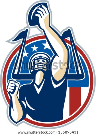 Illustration of an american football gridiron quarterback player holding up ball facing front set inside circle with stars and stripes flag done in retro style. - stock vector