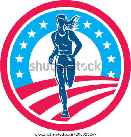 Illustration of an american marathon triathlete runner running winning finishing race set inside circle with stars and stripes in the background done in retro style. - stock vector