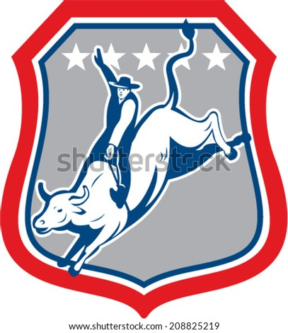 Illustration of an american rodeo cowboy riding bucking bull set inside shield crest with stars in the background done in cartoon style.