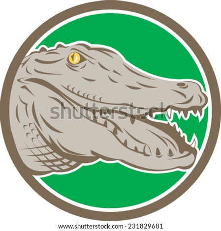 Illustration of an angry alligator crocodile head snout snapping viewed from side set inside circle on isolated background done in retro style.  - stock vector