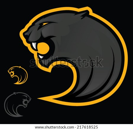 Illustration of an angry black panther/Vector Panther Mascot - stock vector