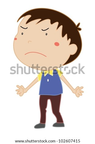 Illustration of an angry boy - stock vector