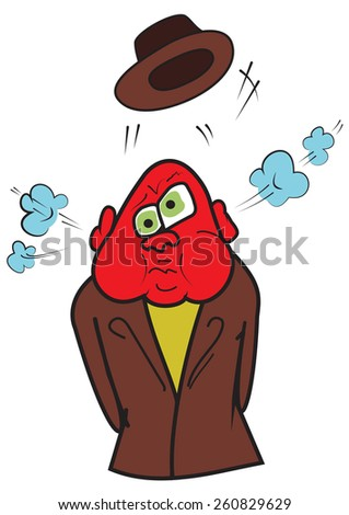 Illustration of an angry man with a red head and the soaring hat - stock vector