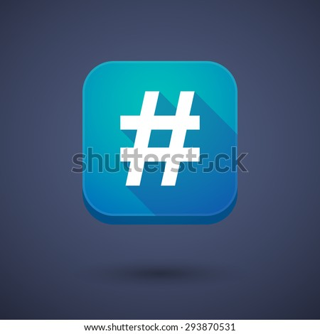 Illustration of an app button with a hash tag - stock vector