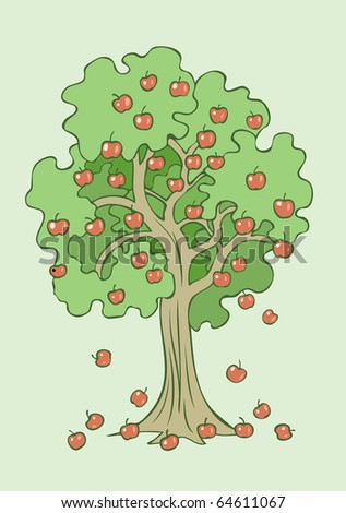Illustration of an apple tree rich in fruits falling down on earth