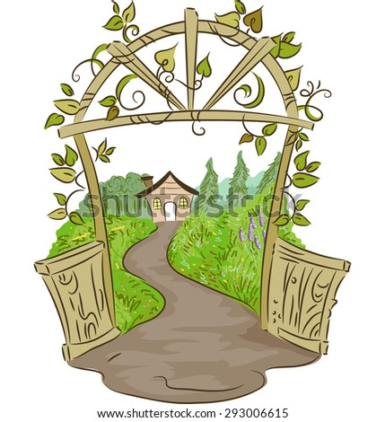 Illustration of an Arc Leading to a Rural House Surrounded by Plants