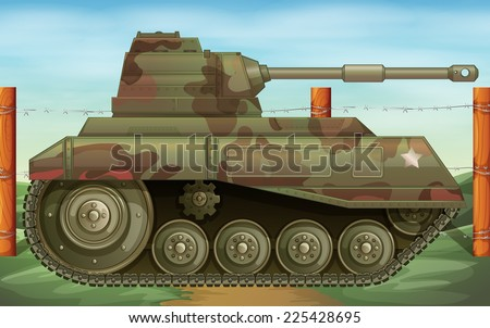 Illustration of an armoured tank at the battlefield - stock vector