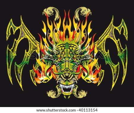 illustration of an Asian mythological animal as the dragon - stock vector
