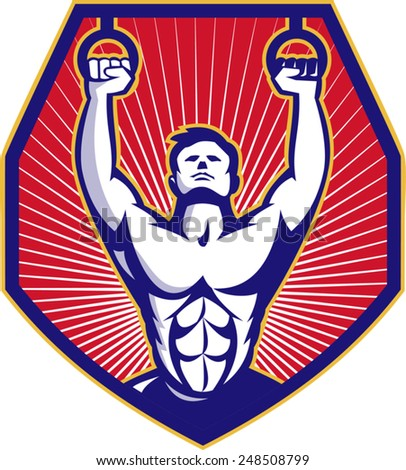 Illustration of an athlete crossfit training workout on rings facing front set inside shield done in retro style.