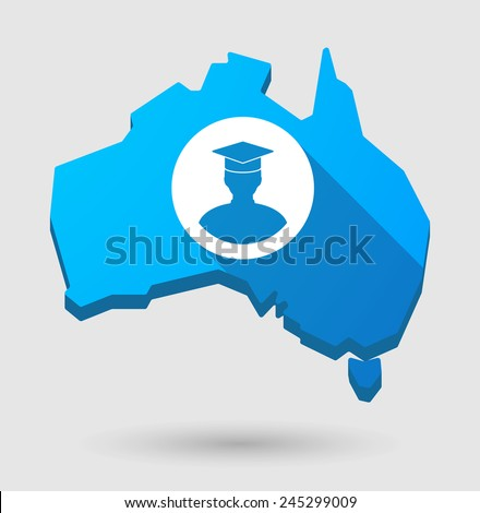 Illustration of an Australia map icon with a student - stock vector