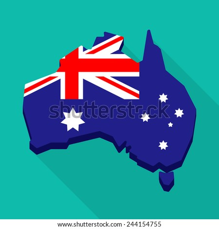 illustration of an Australia map with the national flag - stock vector