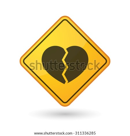Illustration of an awareness sign with a broken heart - stock vector