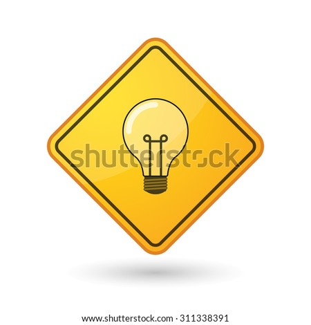 Illustration of an awareness sign with a light bulb - stock vector