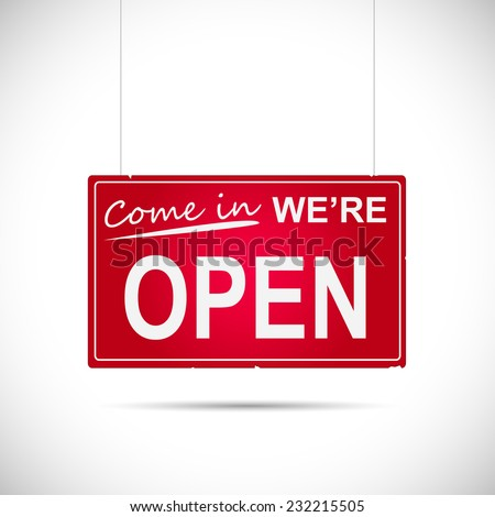 Illustration of an business Open sign isolated on a white background.