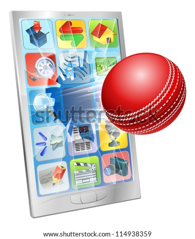 Illustration of an cricket ball flying out of cell phone screen - stock vector
