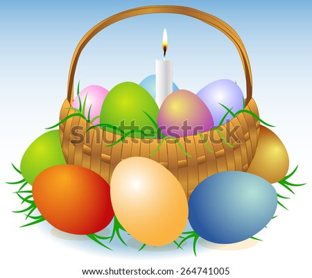 Illustration of an Easter basket with colored eggs, greens and burning candle - stock vector