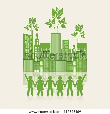 Illustration of an ecological city with silhouettes of people holding hands, concept work for the city, vector illustration - stock vector