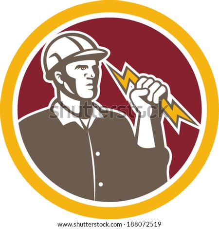 Illustration of an electrician construction lineman worker holding a lightning bolt set inside circle done in retro style on isolated white background. - stock vector