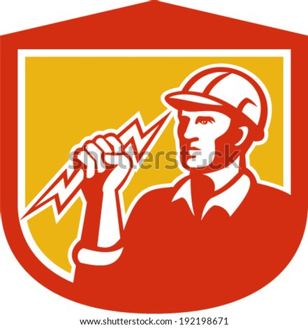 Illustration of an electrician construction worker clutching holding a lightning bolt set inside shield done in retro style on isolated white background. - stock vector