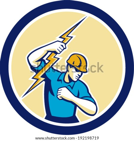 Illustration of an electrician construction worker holding a lightning bolt set inside circle done in retro style on isolated white background. - stock vector
