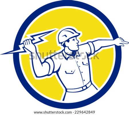 Illustration of an electrician construction worker holding a lightning bolt throwing viewed from the side set inside circle done in retro style on isolated background. - stock vector