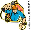 Illustration of an electrician construction worker holding an electrical electric plug with cord front view set inside hexagon done in retro style in isolated white background. - stock vector